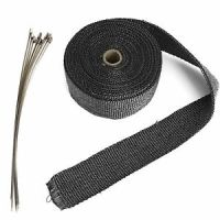 Black Exhaust Header Heat Pipe Wrap Tape Turbo 10m + 10