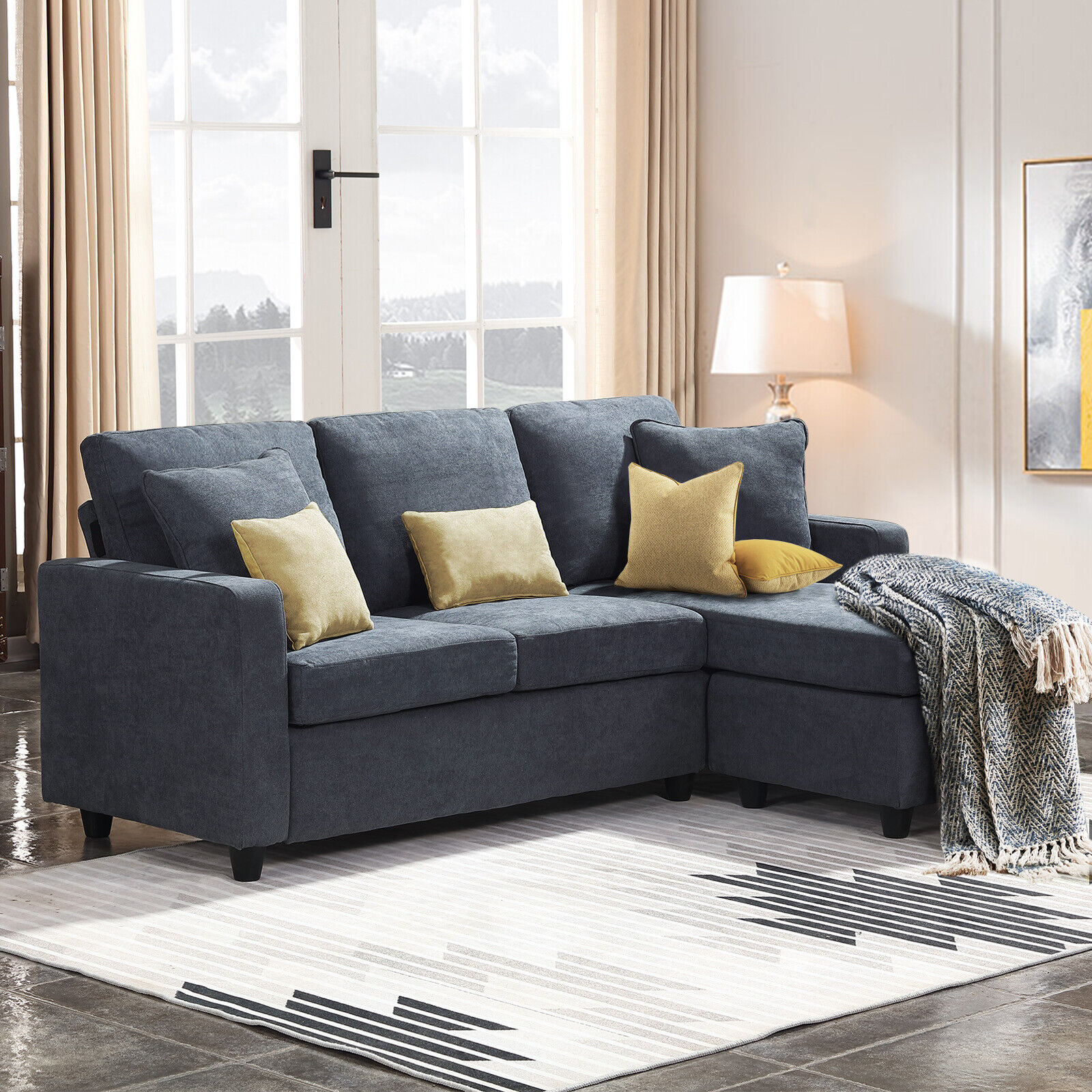 dark grey sectional sofa l shaped couch w reversible chaise for small space