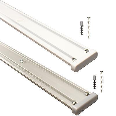 Gardinenschienen Vorhangschienen Aluminium 2-läufig vorgebohrt, weiß alu silber