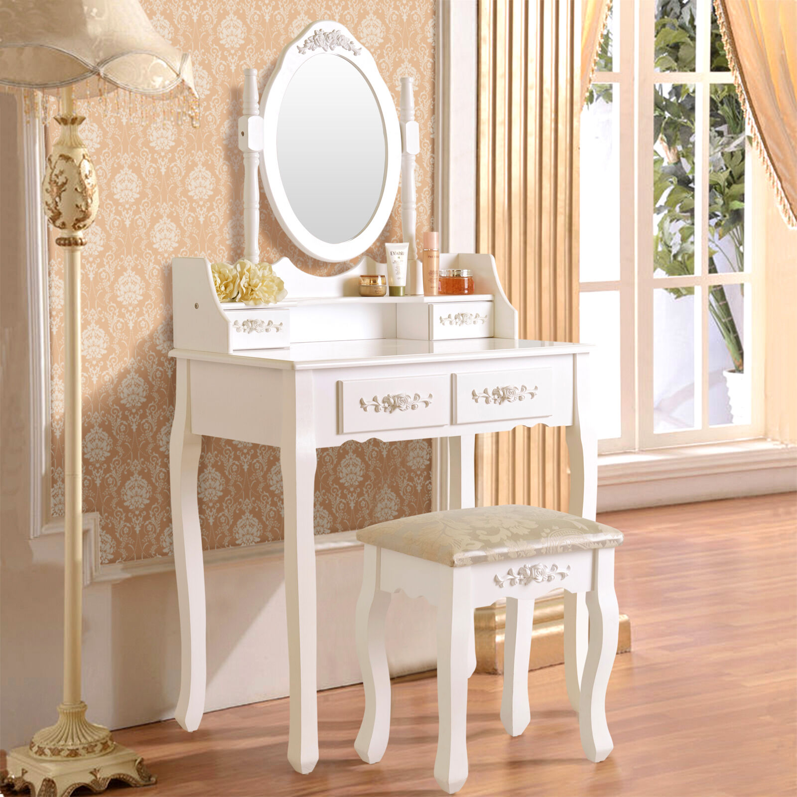 White Vanity Makeup Dressing Table Set with Stool 4 Drawer