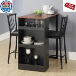 Square Bar Table Kitchen Dining Room Counter Height Bistro Breakfast Cafe Black For Sale Online Ebay