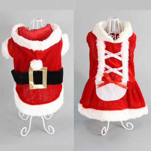 Chrismas Santa Costume Puppy Pet Dog Dress Apparel Hoodie Coat Clothing Outwear 1