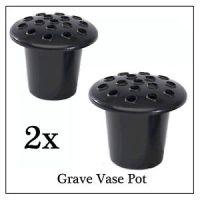 2x Black Memorial Grave Flower Pot, Replacement Stem Water ...