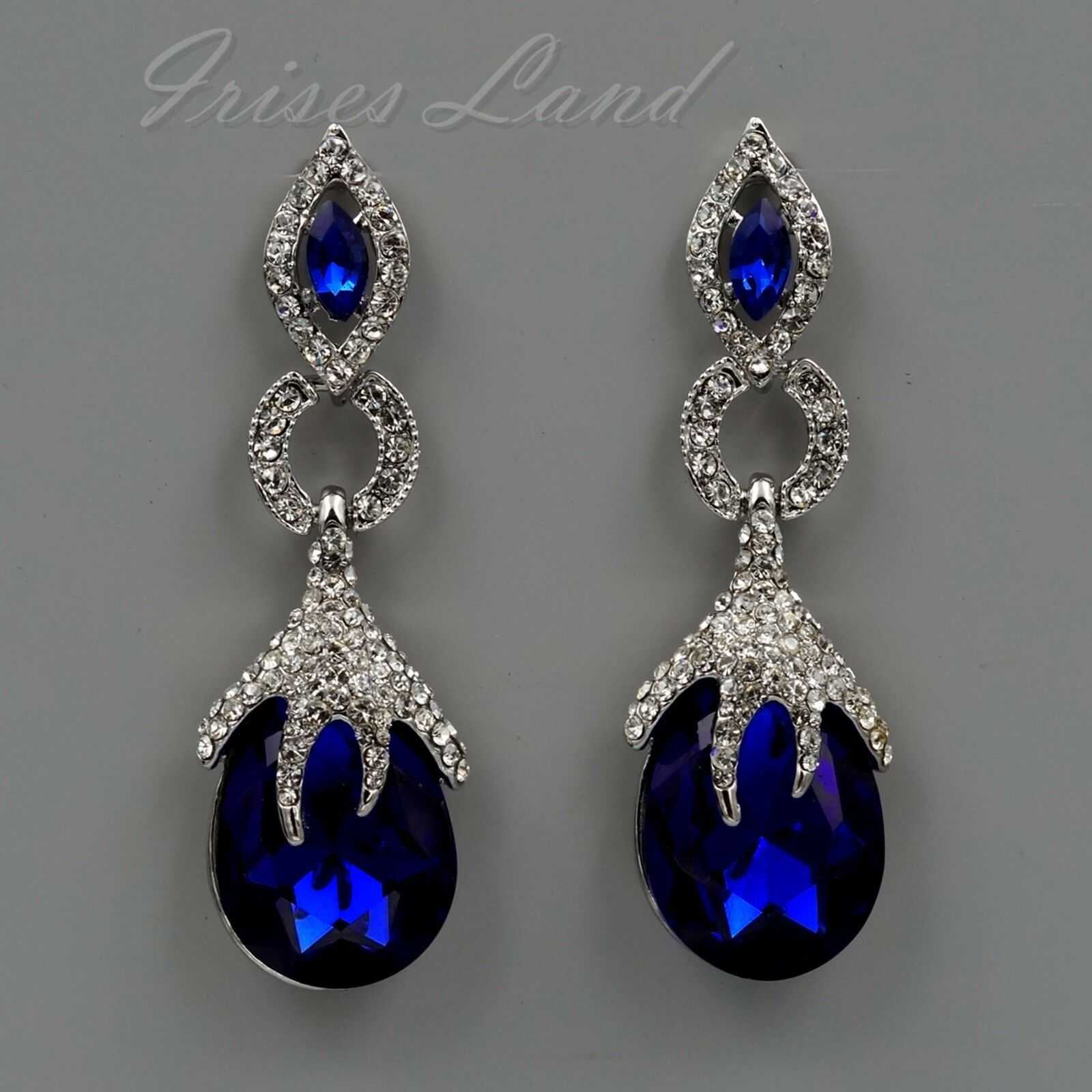Rhodium Plated Sapphire Blue Crystal Rhinestone Drop