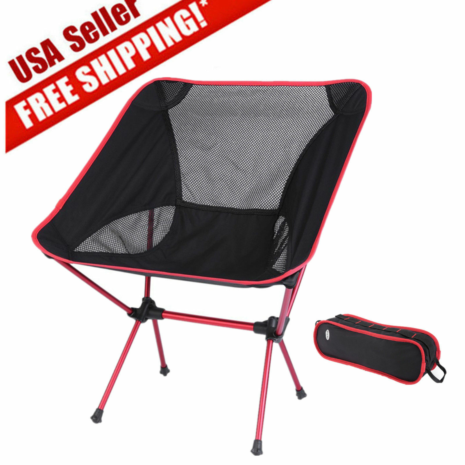 stool chair red david rowland folding seat fishing camping hiking gardening beach