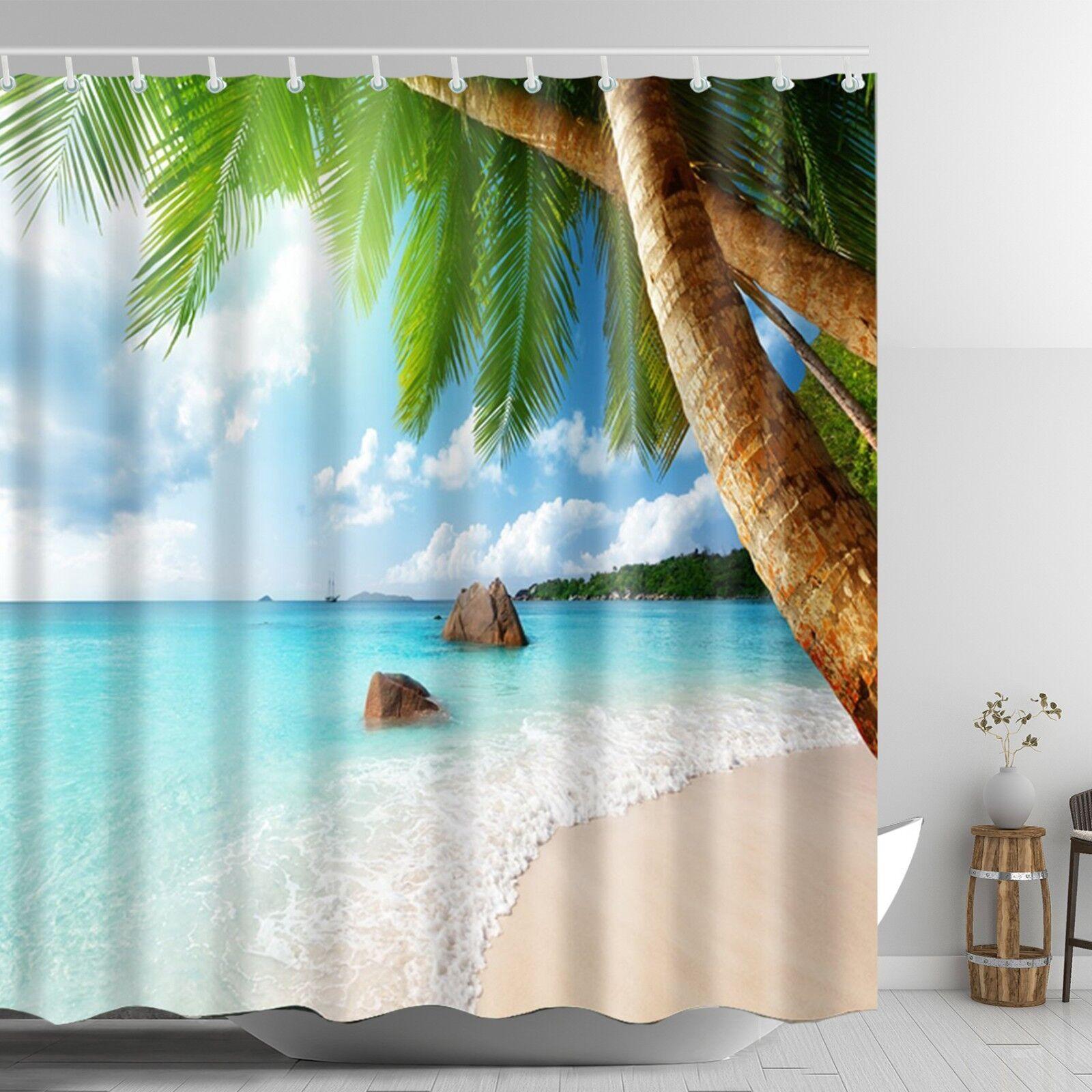 Beach Scene Shower Curtain Beach Themed Tropical Palm Bathroom 69 X 72 Inch