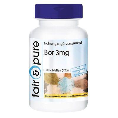 Bor 3mg Boron Natriumtetraborat - 120 Tabletten -  Fair & Pure