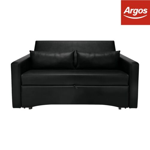 fold out chair bed argos gray accent chairs with arms home reagan 2 seater fabric sofa charcoal dark brown leather effect black
