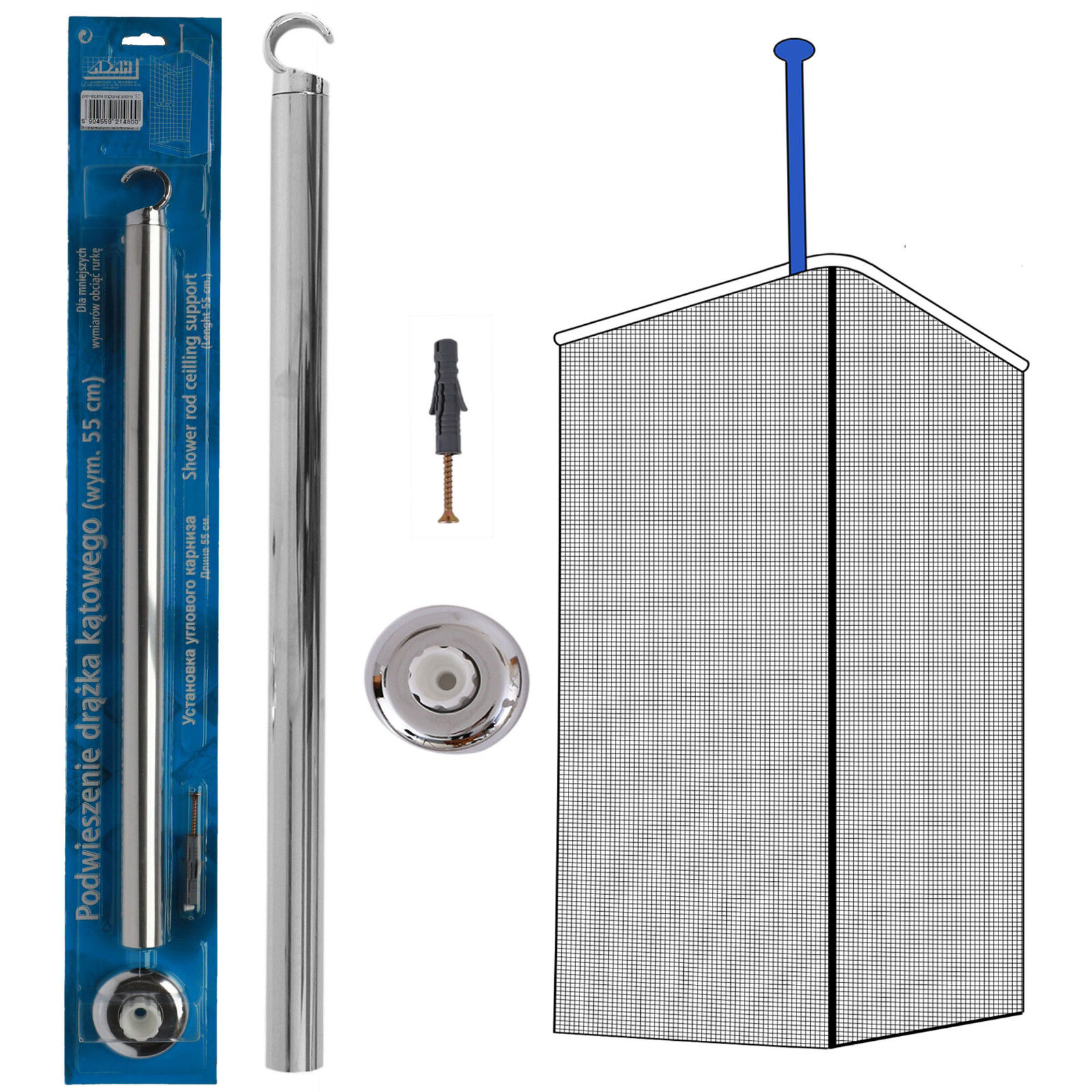 Details About Shower Curtain Rail Ceiling Support 55cm Corner Rail Rod Bath Chrome Colour Pole