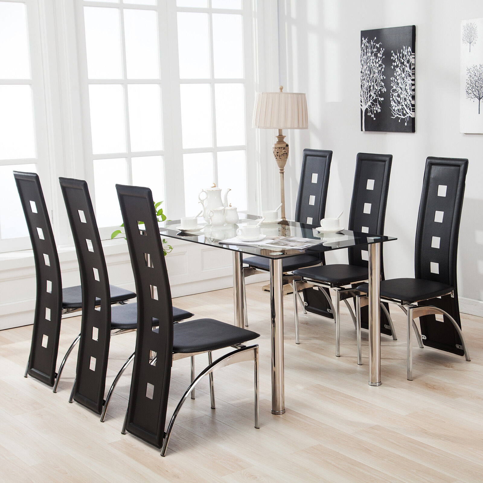 Glass Tables And Chairs Glass Dining Table And 6 High Back Faux Leather Chairs Set