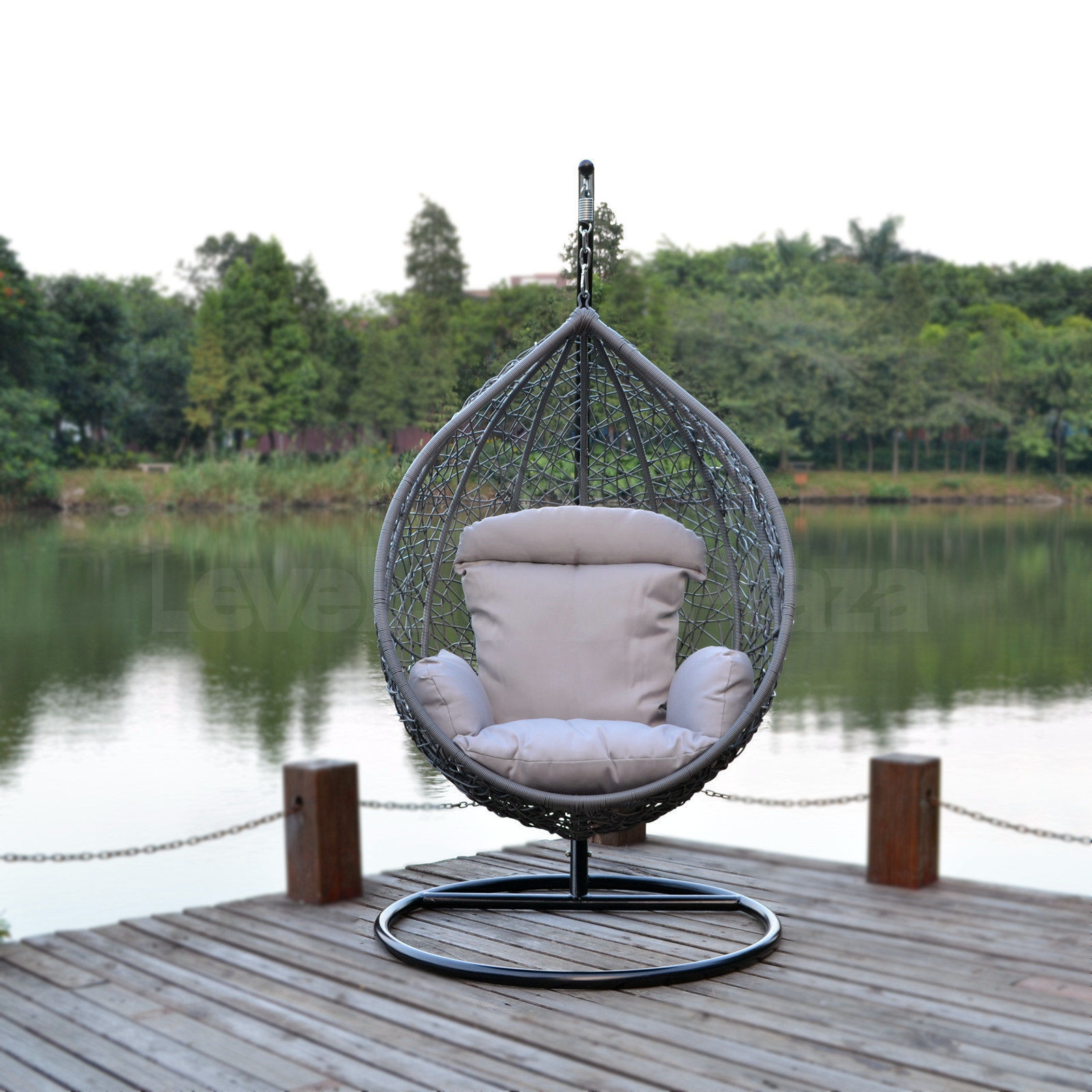 swing chair grey comfortable for gaming wicker egg shape outdoor hanging hammock