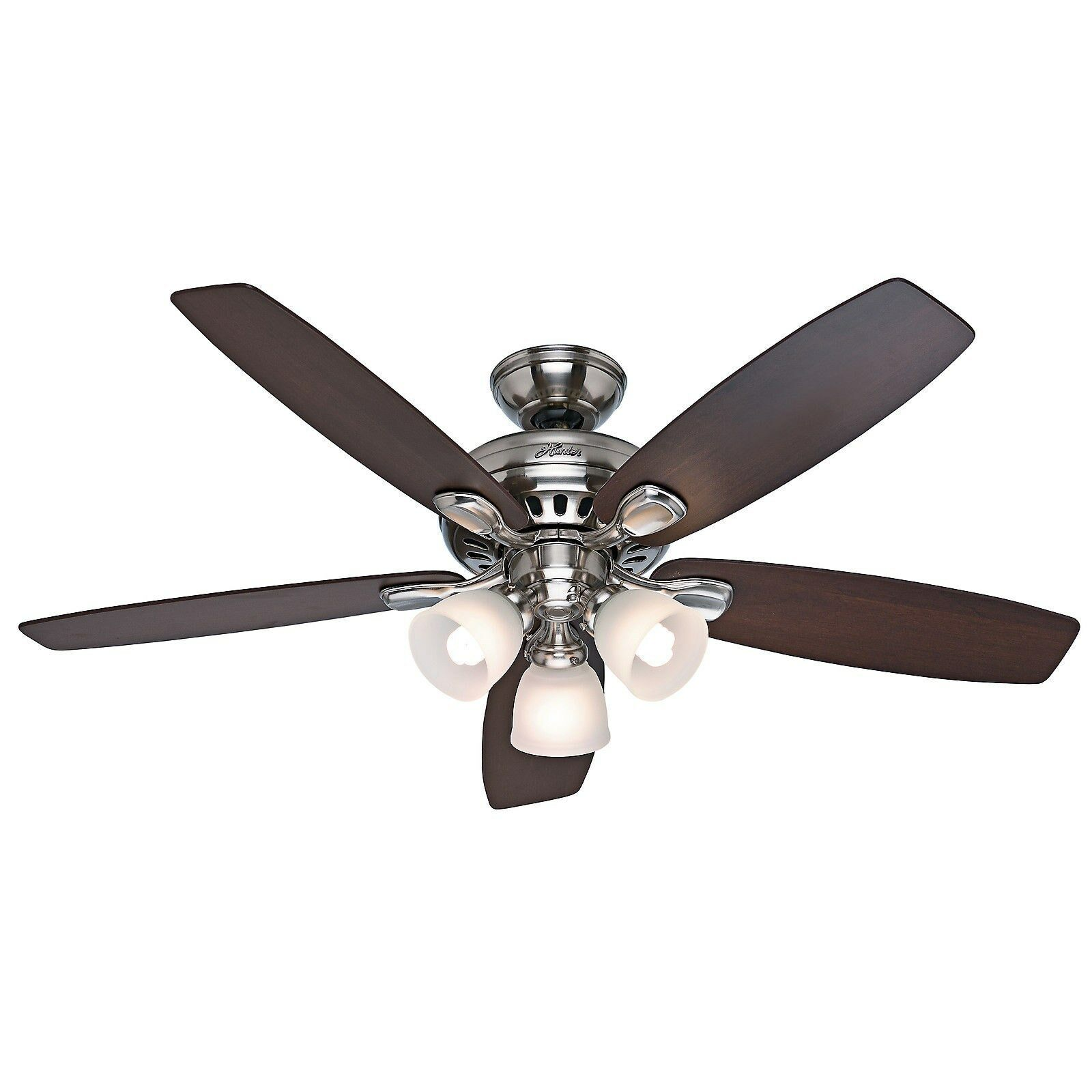 Hunter 52 Brushed Nickel Ceiling Fan with Light  Remote Control  5 Blade  eBay