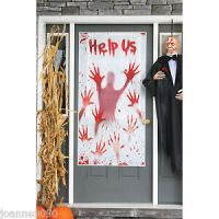 Scary Zombie Help US Psycho Bloody Hands Halloween Door ...