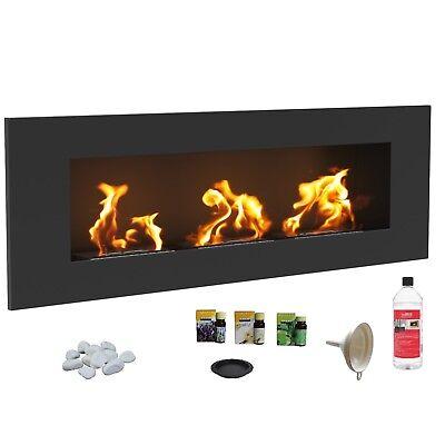 BIO ETHANOL FIREPLACE DESIGN ECO FIRE BURNER LONG 1200x400 BLACK FUEL FREE