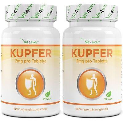 2x Kupfer = 730 Tabletten á 2mg - KupferGluconat -  Bioverfügbarkeit + Vegan