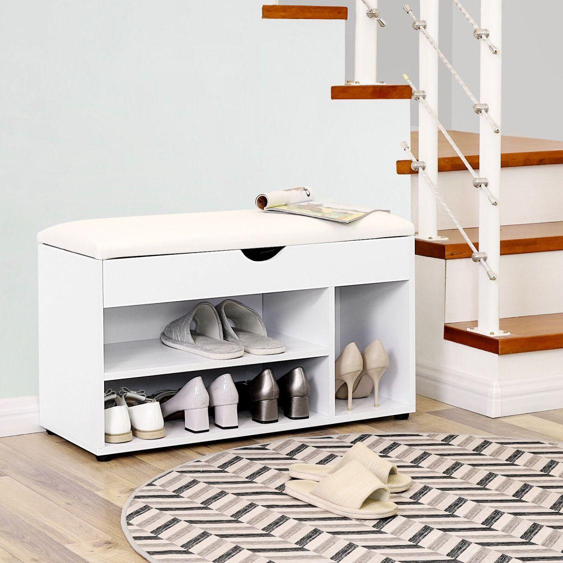 Schuhbank mit Sitzkissen Schuhregal Sitztruhe Schuhschrank Schuhablage LHS30W