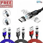 180+360° Rotate Magnetic Phone Charger Cable USB Adapter For iPhone Type C Micro