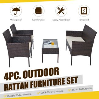 Wicker 4pc Patio Furniture Set with Outdoor Sofa 2 Chairs & Table Walnut Beige