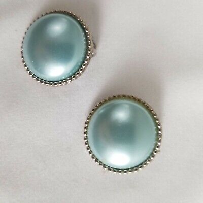 Cora Blue Domed Vintage Clip On Earrings Silver Tone Trim