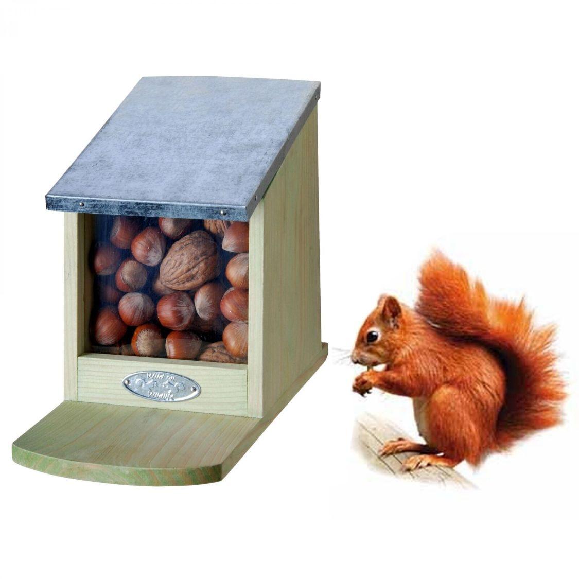 Futterhaus Eichhörnchen Futterautomat Futterstation Futterhäuschen Holz NEU