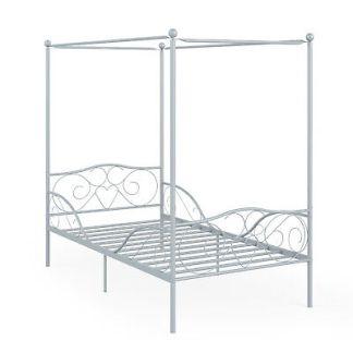 Twin Size Metal Canopy Bed Frame 4 Poster Steel Slats Headboard Footboard Pewter