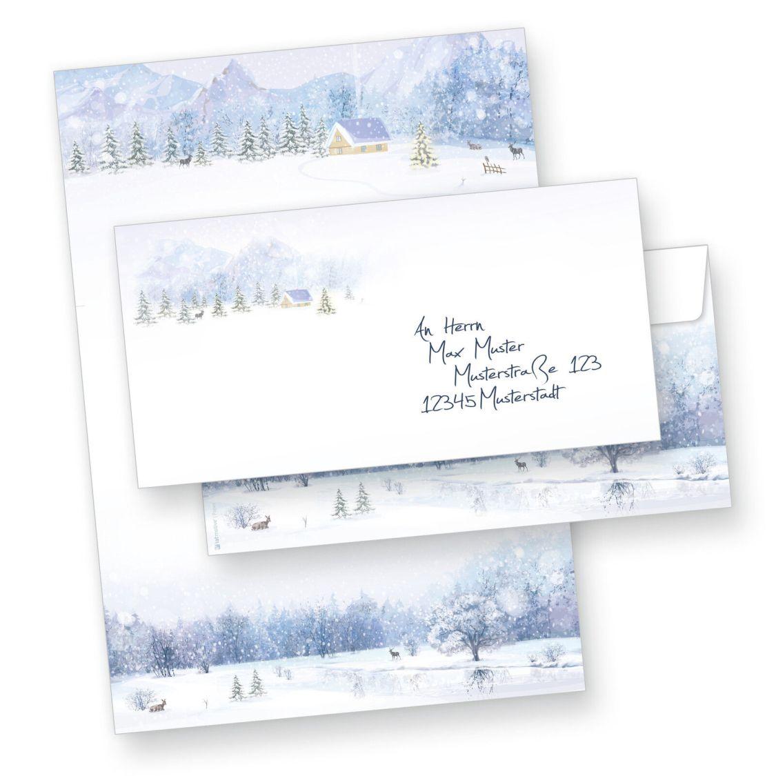 Briefpapier Weihnachten Weiße Weihnacht Weihnachtsbriefpapier optional Umschläge