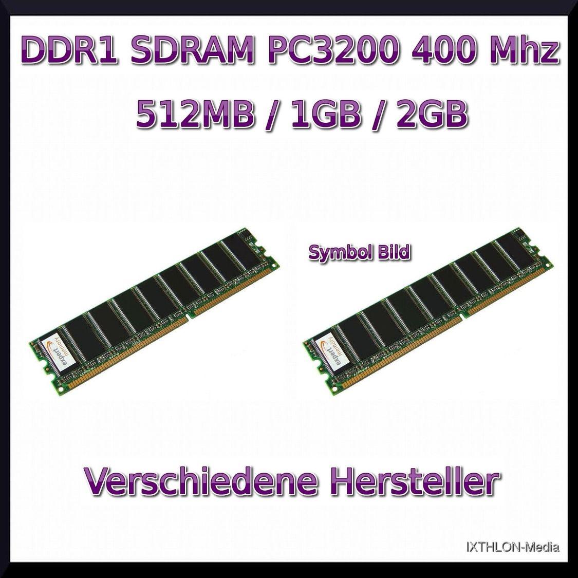 4GB / 2GB / 1GB / 512MB - DDR1 - PC3200 - 400Mhz - ARBEITSSPEICHER - RAM