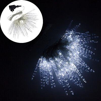 Lichterkette 80 LED Eiszapfen Eisregen Licht Leuchte Weihnachten Deko kaltweiß