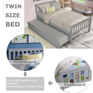 Wood Bed Frame Twin Size Bed Platform with Trundle and headboard Footboard Gray