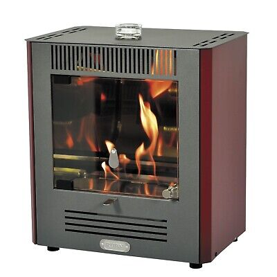 - JS Mini 'Ruby' Red/White Bioethanol Stove - Flueless Heater - Real Flame -