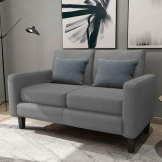 2-Seat Couch Loveseat Sofa w/ Thick Cushion Upholstered Accent Arm Sofa Grey