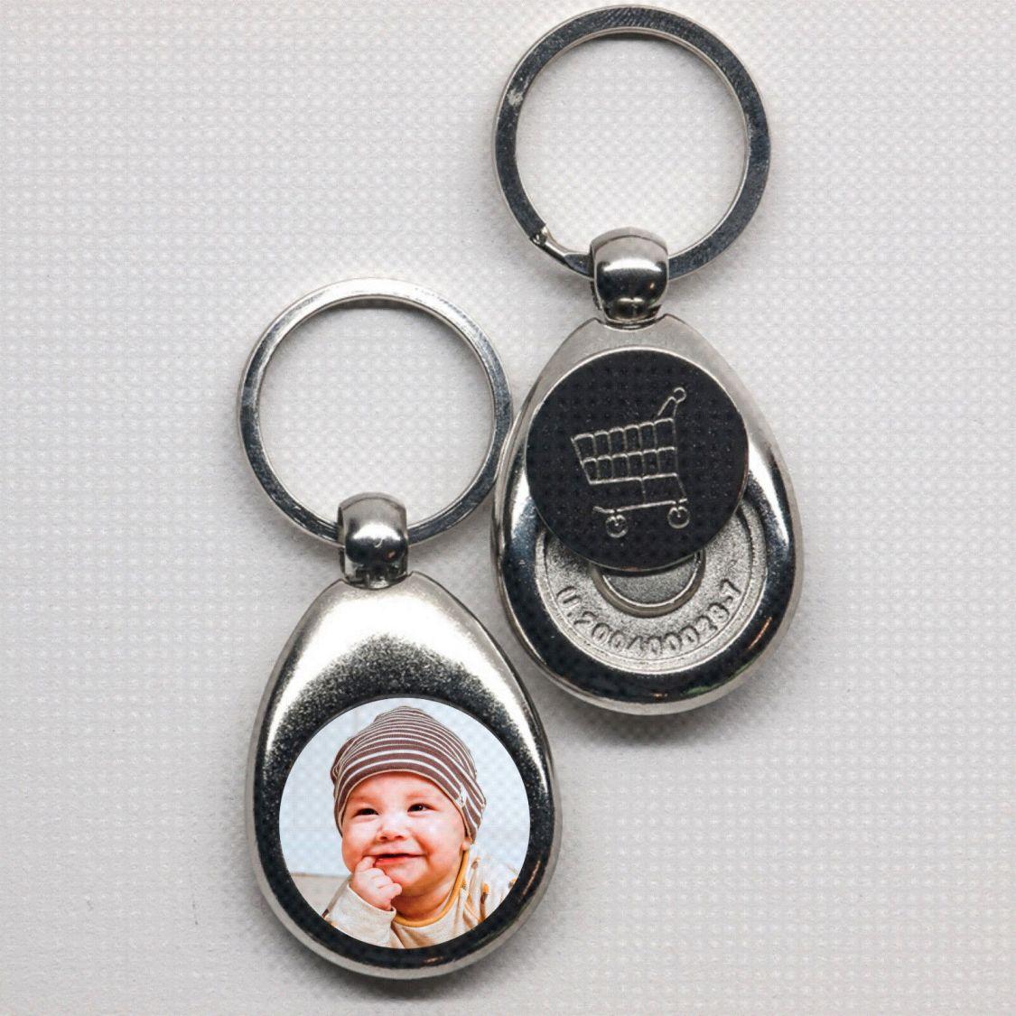 Schlüsselanhänger mit Foto und Chip Metall  Edel Geburtstag Geschenk Ostern