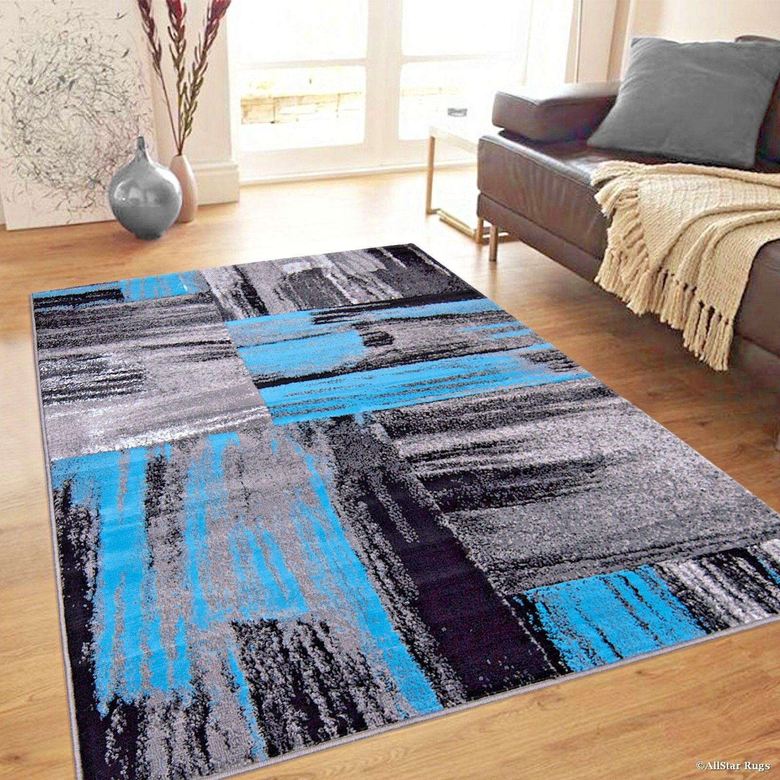 Details About Rugs Area Rugs Carpets 8x10 Rug Modern Large Floor Room Blue Big Gray Cool Rugs