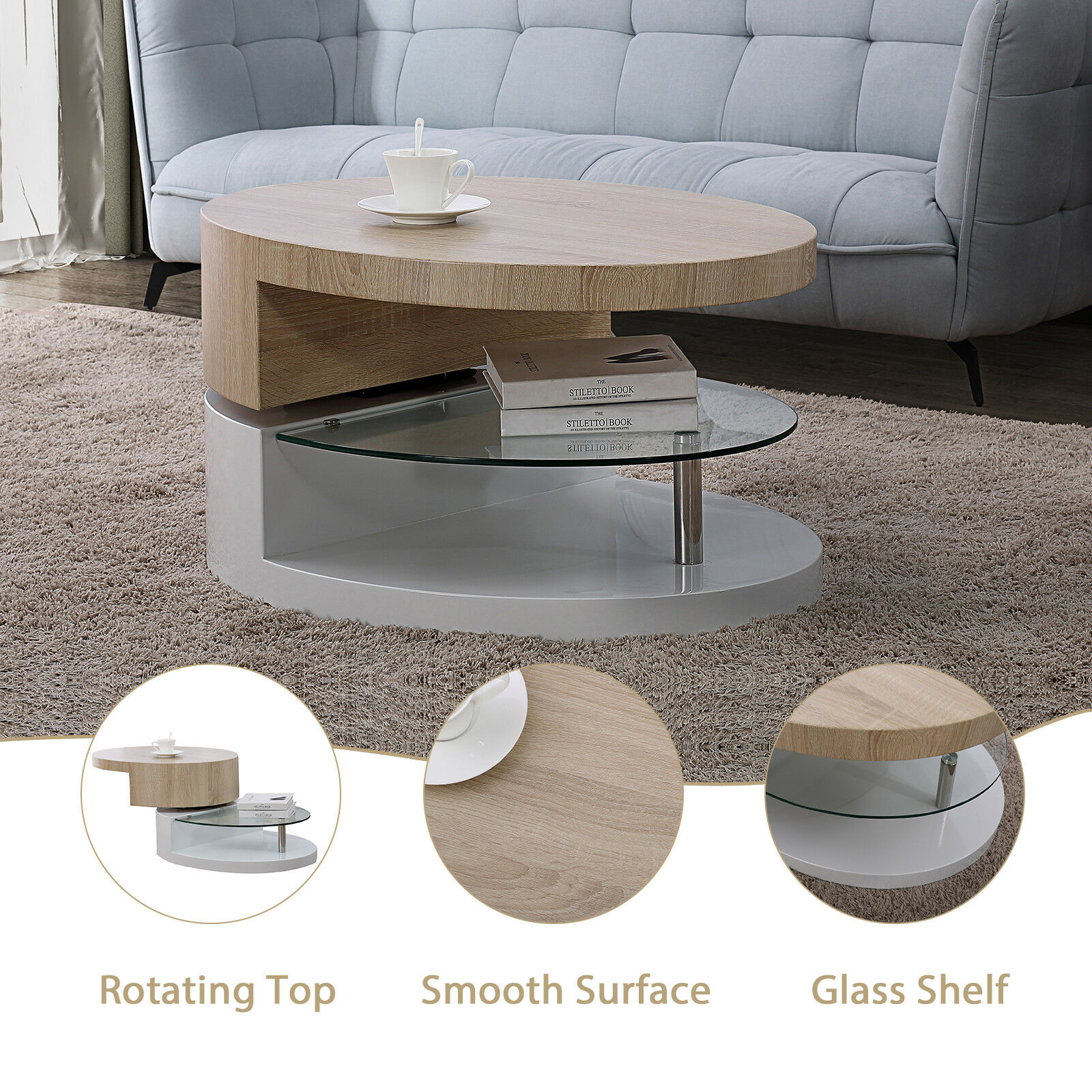 living room glass shelves color schemes with gray couch contemporary oval rotating coffee table w shelf modern rectangular swivel wood furniture