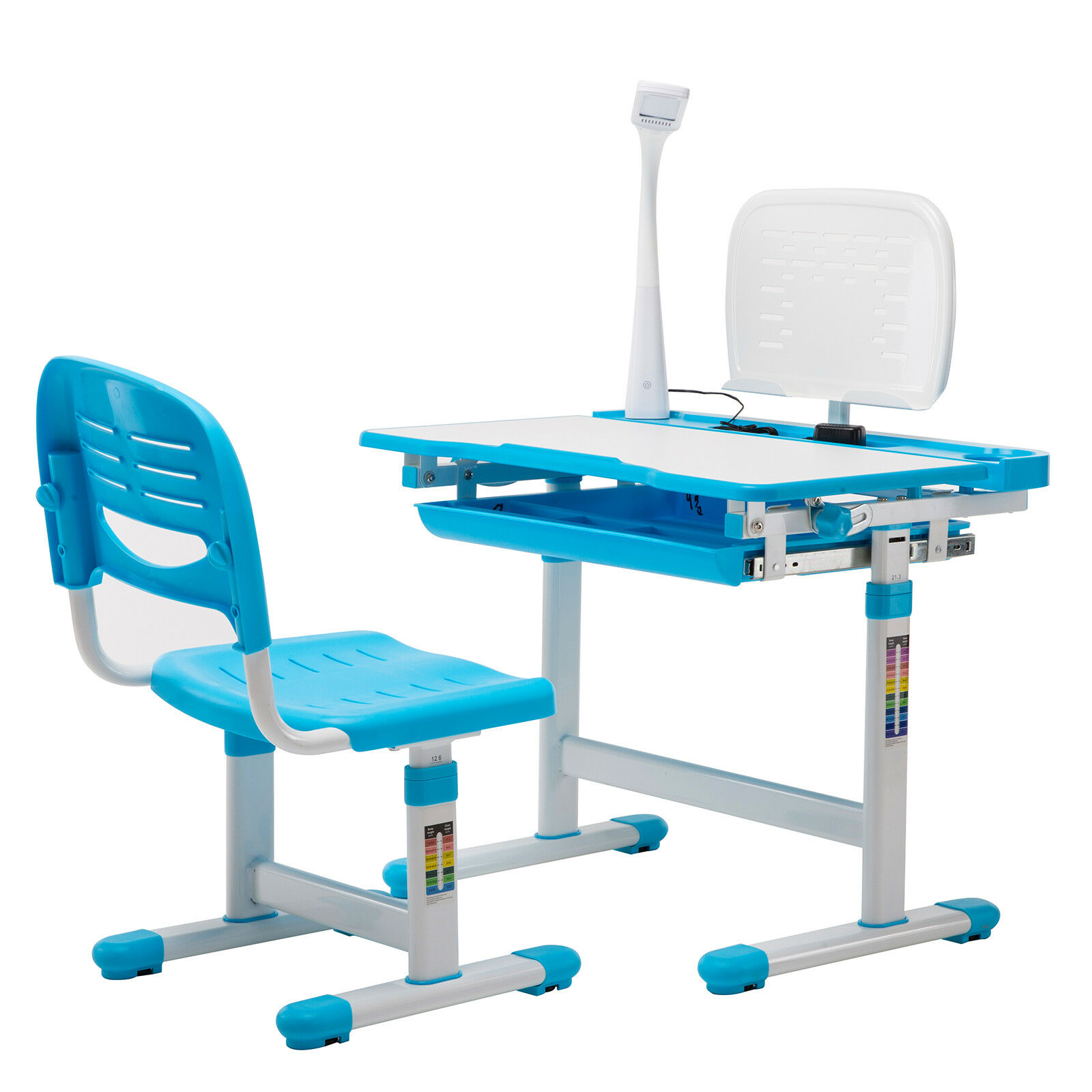 Study Table And Chair Details About Blue Adjustable Children S Study Desk Chair Set Child Kids Table W Desk Led Lamp