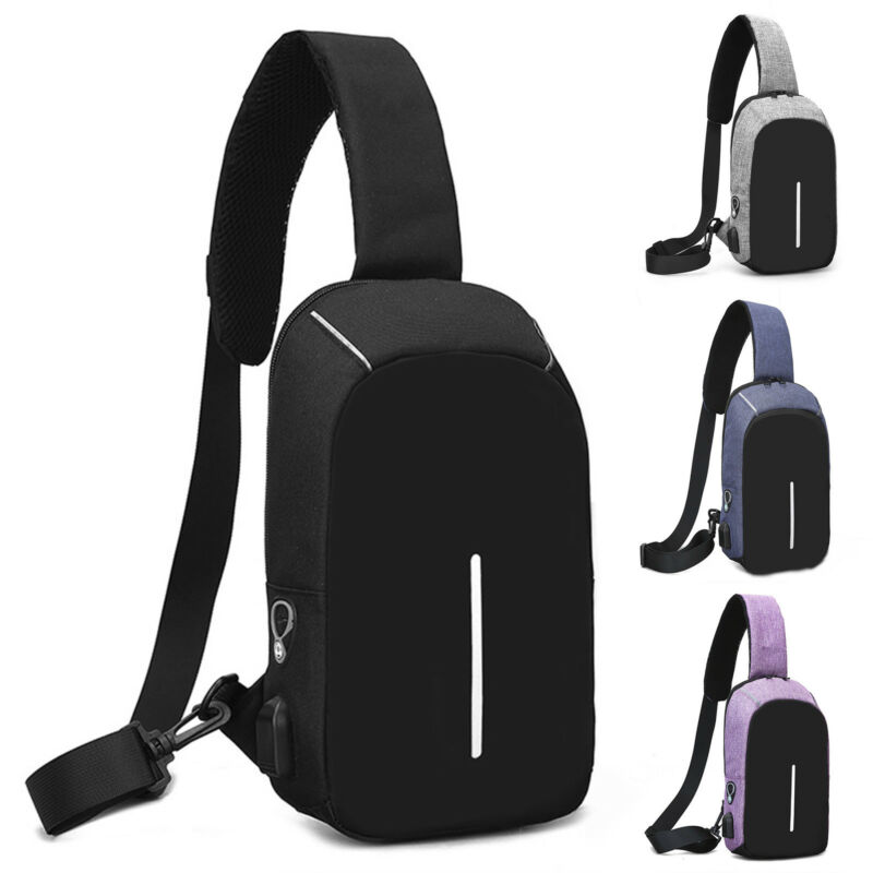 Herren Sling Taschen Brusttasche Sport Schultertasche Umhängetasche Mit USB Port