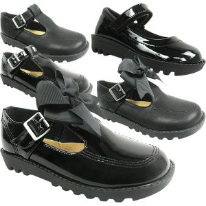 GIRLS KIDS LADIES FLAT LOW LOAFERS DOLLY SCHOOL SHOES SIZE BOW PUMPS WORK T BAR   57