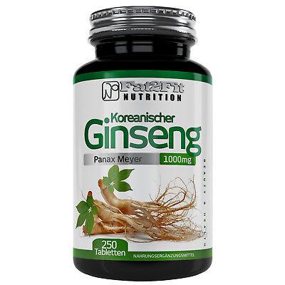 Koreanischer Ginseng 250 Tabletten je 1000mg Panax Meyer Fat2Fit Nutrition