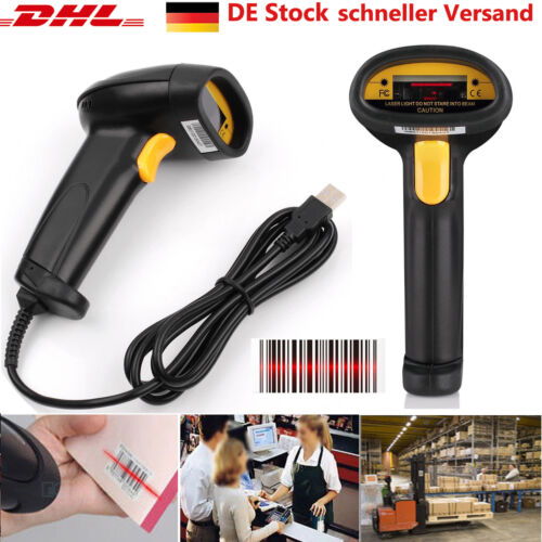 Laser Barcode Scanner Handscanner Laser Scanner Barcodescanner POS mit USB DE