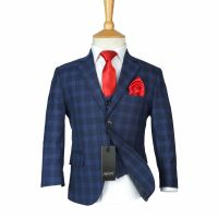 Boys Checkered Navy Suits Page Boy Blue Check Suit Kids ...