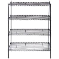 Black Storage Rack 4-Tier Organizer Kitchen Shelving Steel ...