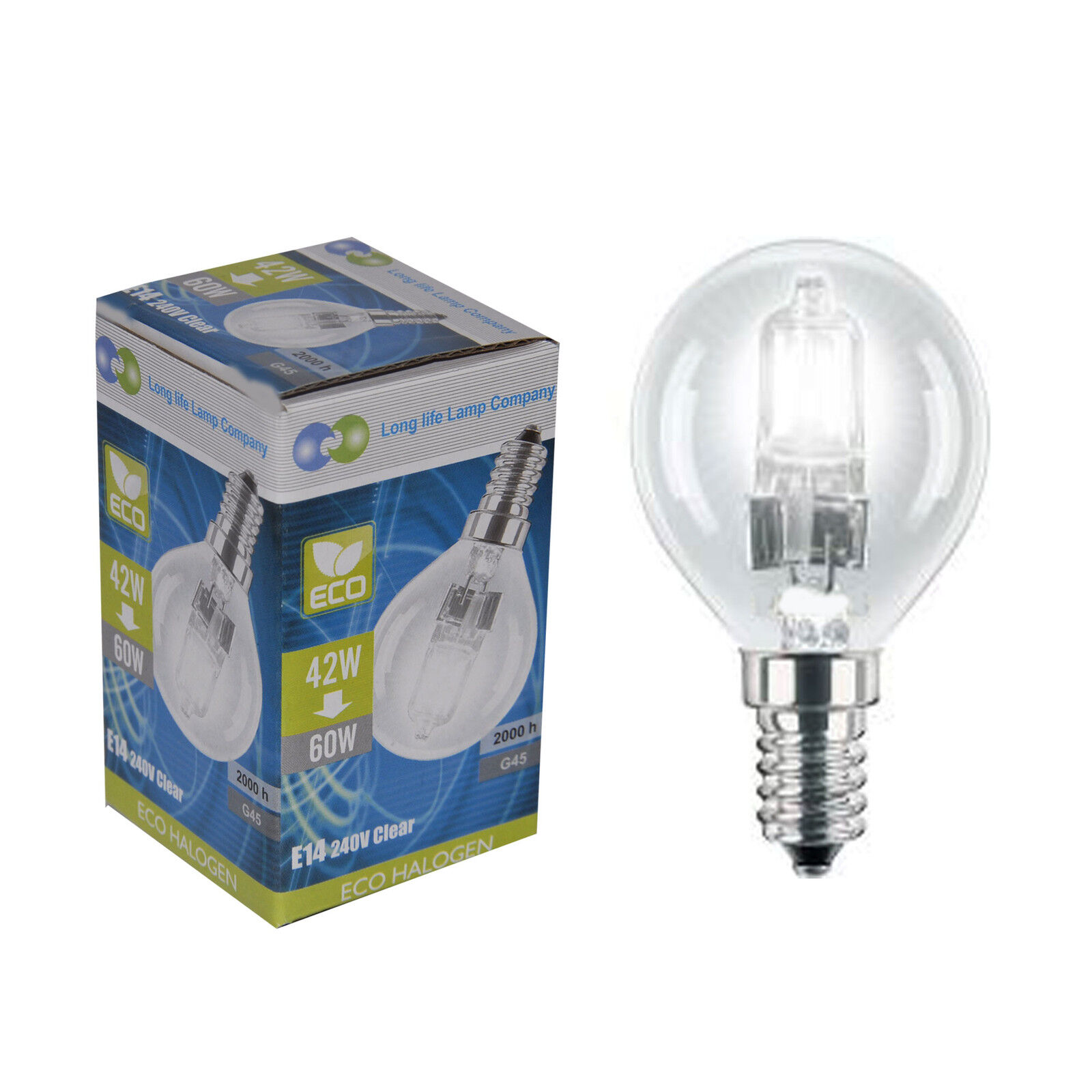 Halogen E14 3 Eco Halogen Energy Saving Golf Balls Light Bulb 42w 60w