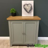 Greymore Painted Small Cupboard Oak / Grey Storage Cabinet ...