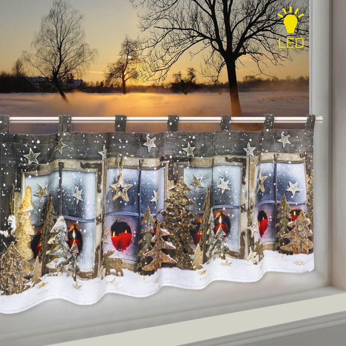 LED Scheibengardine Bistrogardine Winterlandschaft 45x120 cm beleuchtet