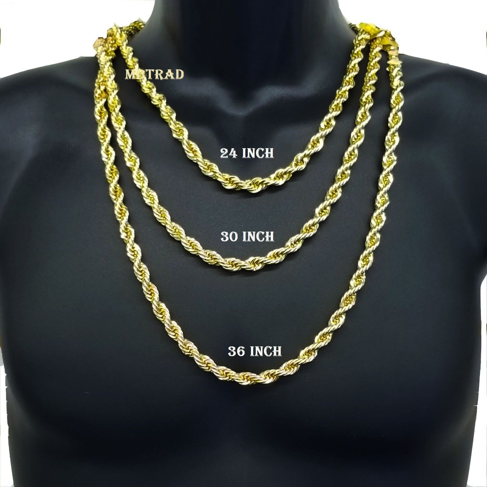 Hip Hop 14k Gold Plated 8mm Thick Heavy Rope Chain Necklace 24