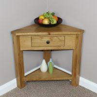 Oak Corner Consol Table Plant Stand lamp Occasional ...