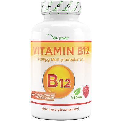 Vitamin B12 1000 mcg - 240 Lutschtabletten Himbeergeschmack - Methylcobalamin