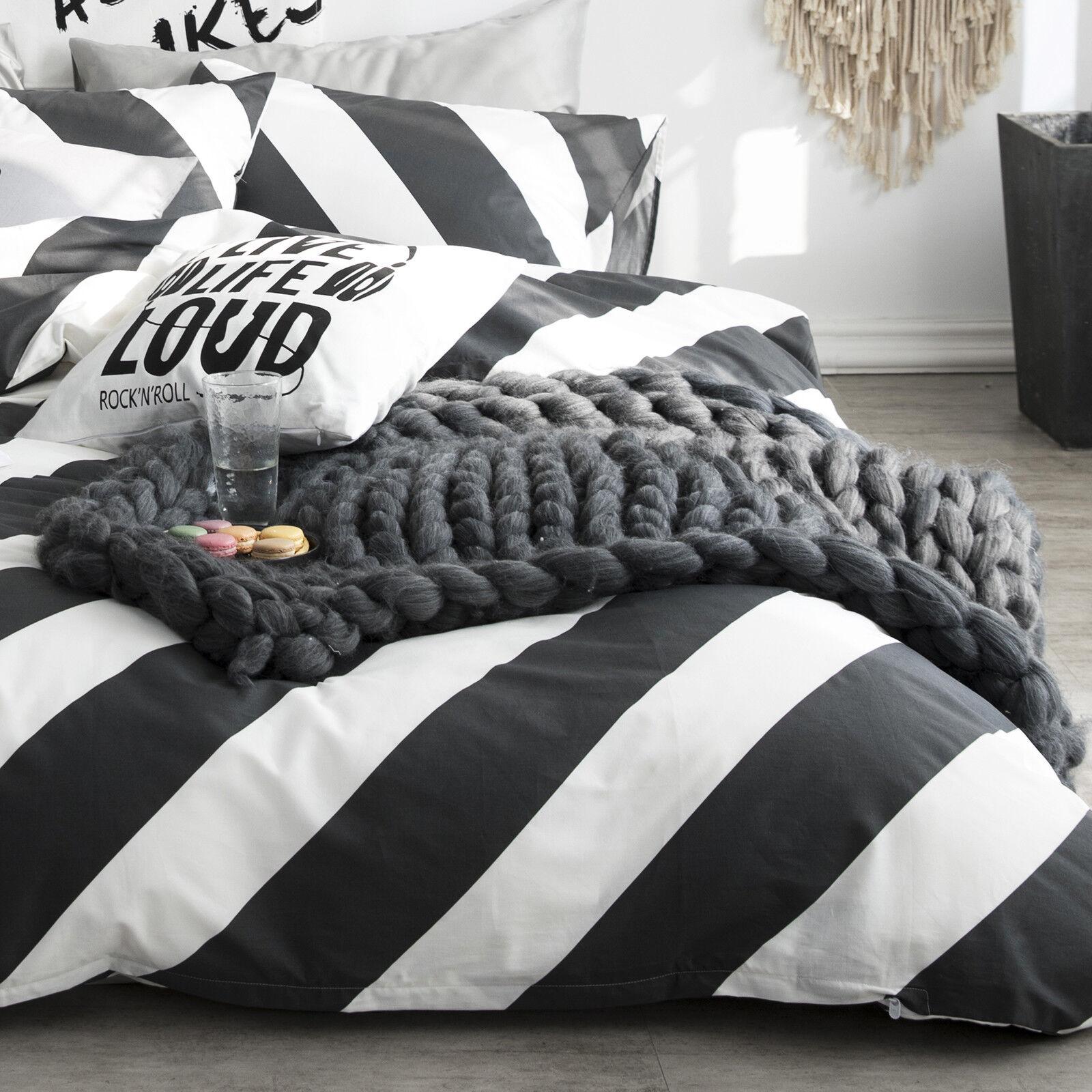 details about 100 cotton black white diagonal stripe duvet cover set queen bedding set