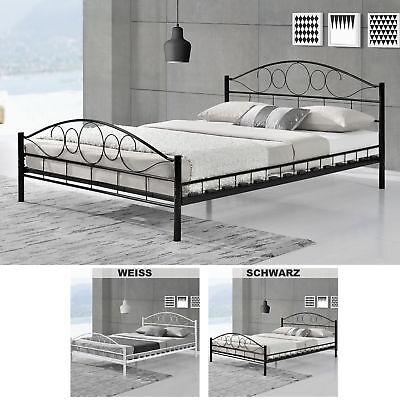 Metallbett Bettgestell Doppelbett Bettrahmen mit Lattenrost Metall Bett Neu