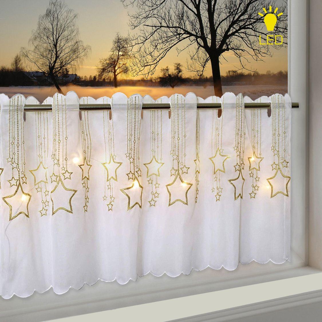 LED Scheibengardine Bistrogardine Sternenregen 45x115 cm Sterne beleuchtet